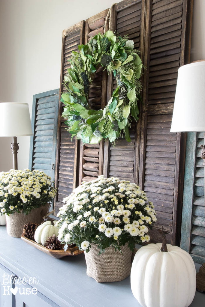 Rustic shutters are a perfect backdrop for a wreath