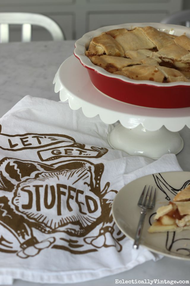 Let's Get Stuffed - what a fun dish towel for fall kellyelko.com