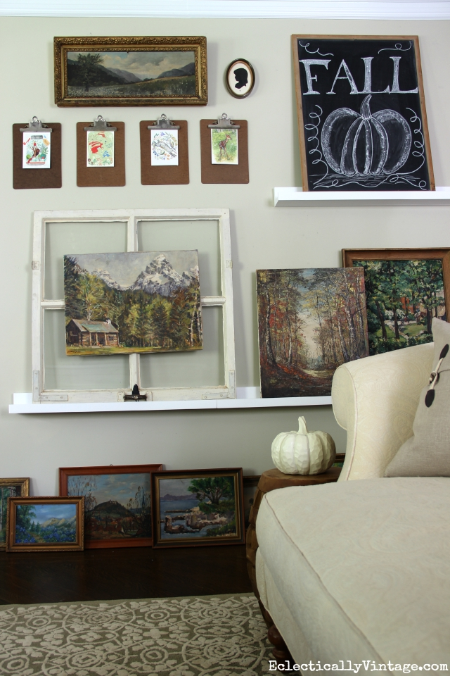 Vintage landscape painting gallery wall - love this! kellyelko.com