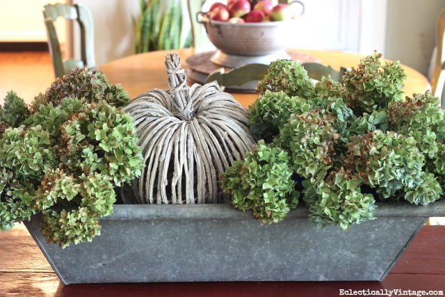 Love this huge zinc trough hydrangea and pumpkin fall centerpiece! kellyelko.com