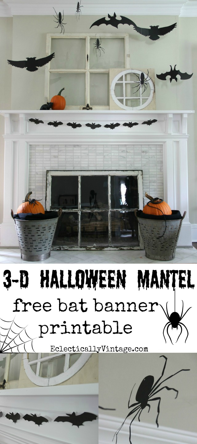 3-D Silhouette Halloween Mantel with free bat banner printables! kellyelko.com