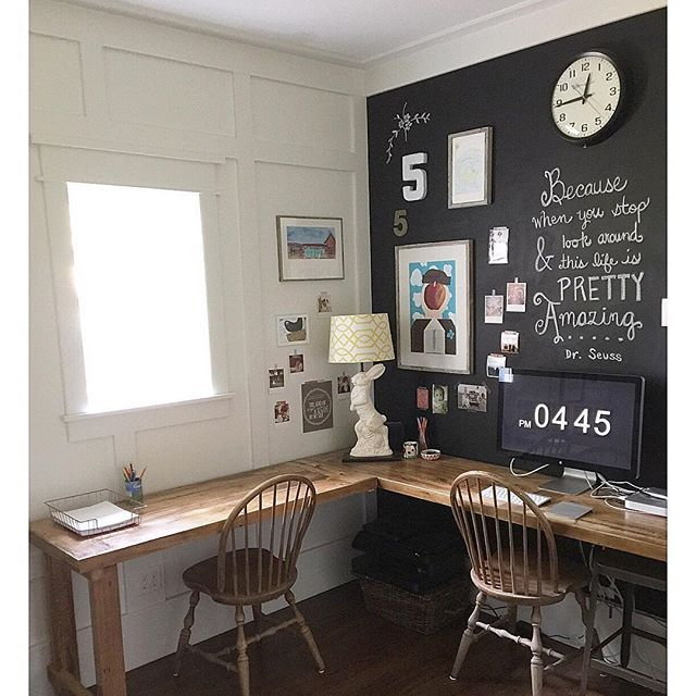 Love this home office chalkboard wall kellyelko.com