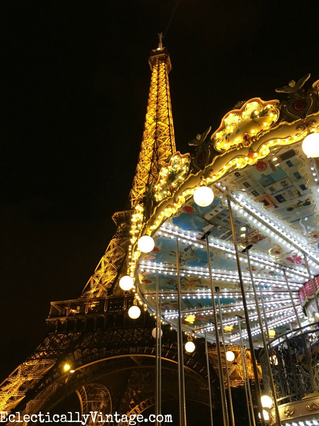 Eiffel Tower carousel at night. So beautiful - love this itinerary for seeing Paris - so many great tips kellyelko.com