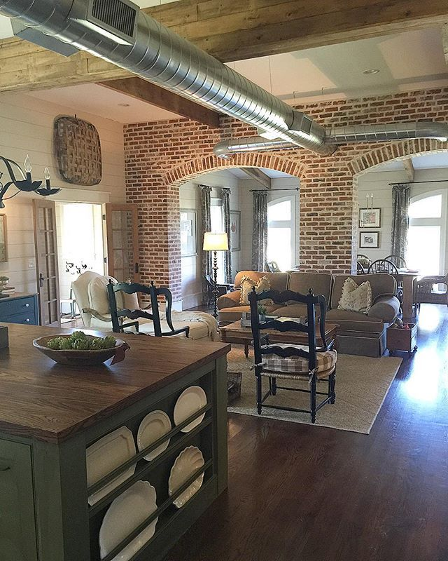 Beautiful farmhouse family room with tons of character kellyelko.com