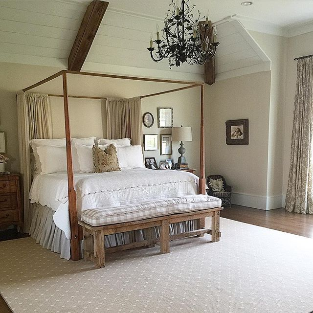 Farmhouse bedroom - love the four poster bed and the giant chandelier kellyelko.com