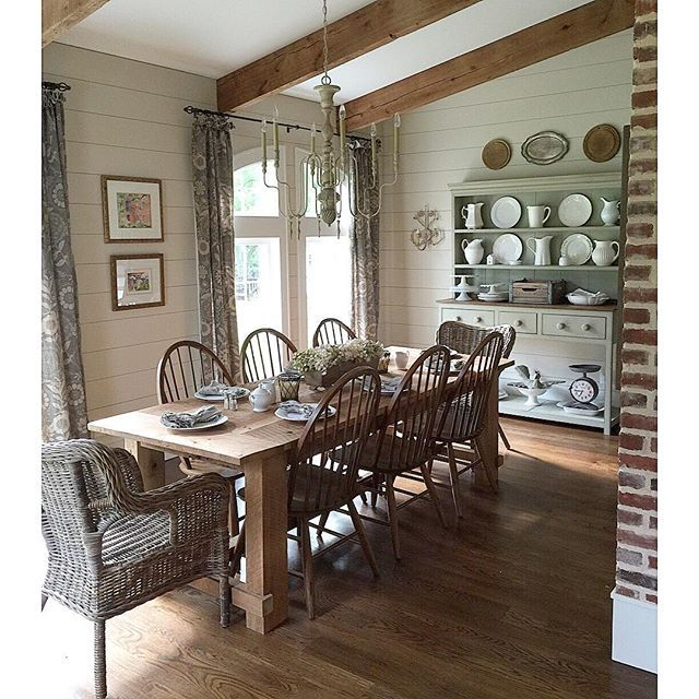 Farmhouse dining room - love the exposed beams and the huge farmhouse table eclecticallyvintage.com