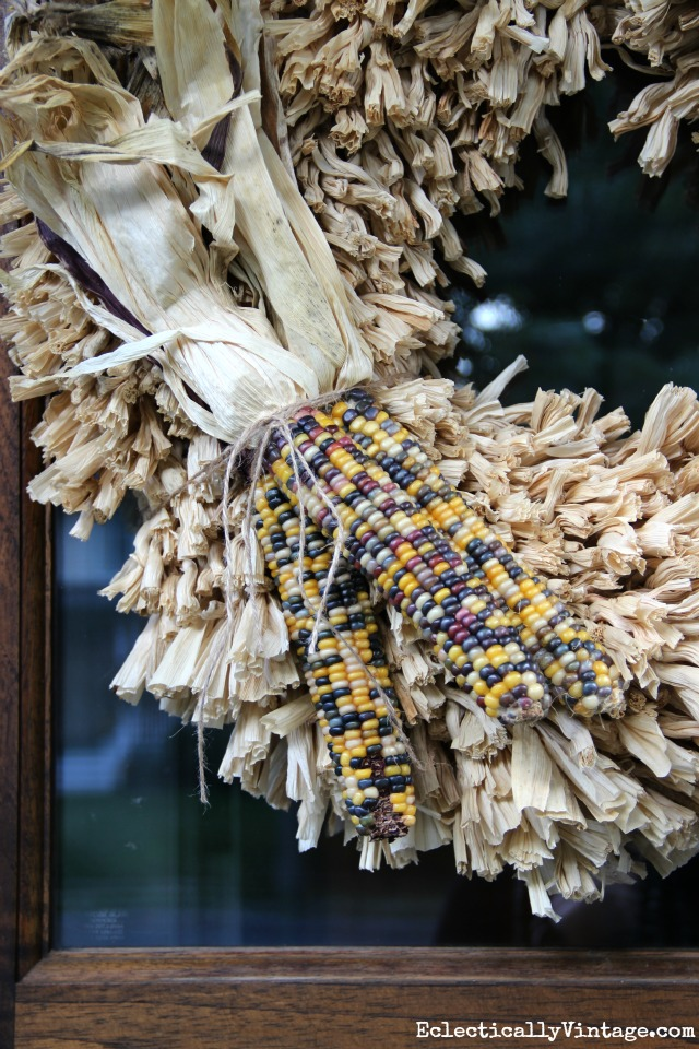 Add Indian corn to a wreath for fall kellyelko.com