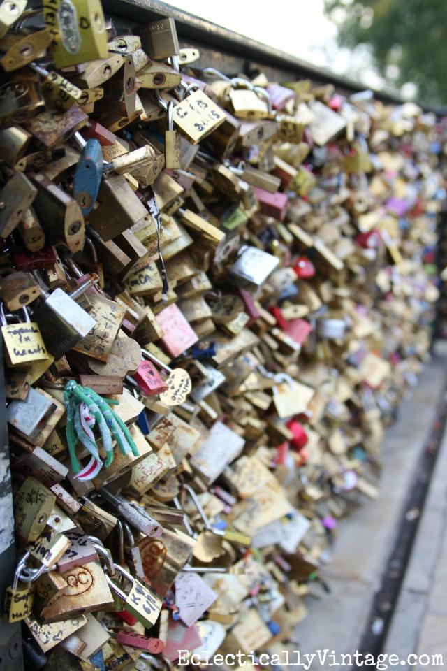 Pont des Arts bridge Paris - filled with locks from couples declaring their love kellyelko.com