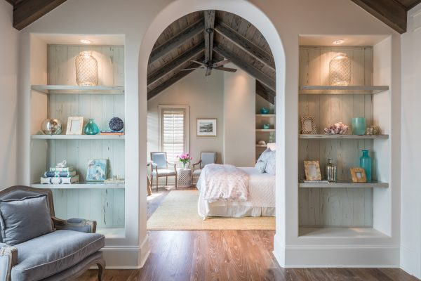 Master bedroom suite - love the built in bookcases and the planked wood ceiling kellyelko.com