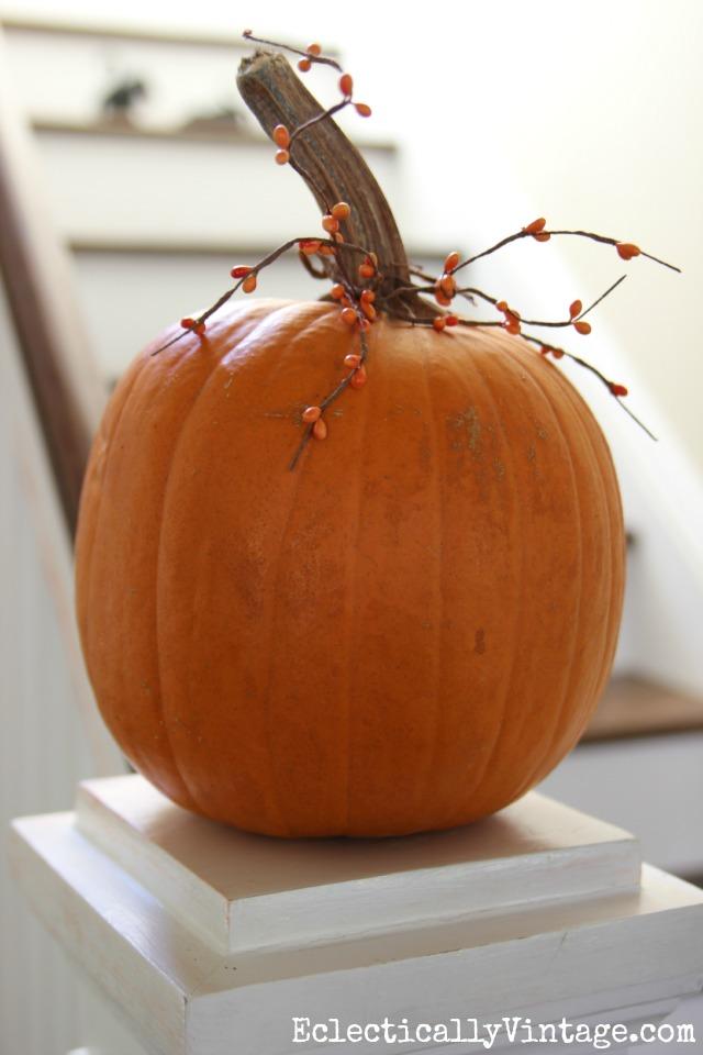 Pumpkin with berry garland kellyelko.com