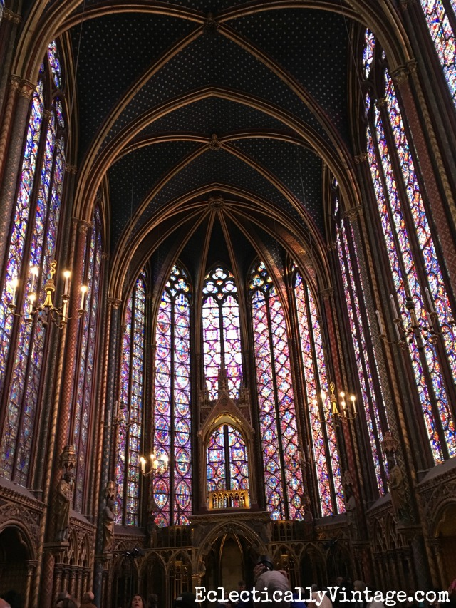 Sainte Chapelle in Paris - this is the most amazing stained glass I've ever seen and I love this itinerary on what to see in Paris kellyelko.com