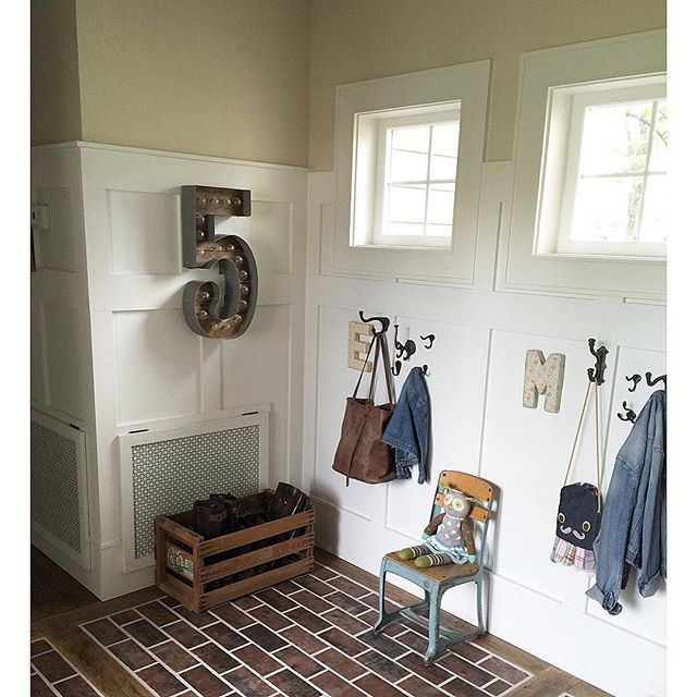 Brick floors in the entry eclecticallyvintage.com
