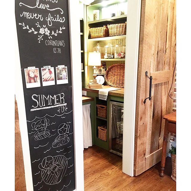 Love this walk in pantry with chalkboard wall kellyelko.com