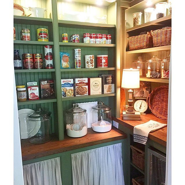 Walk in pantry with green shelves eclecticallyvintage.com