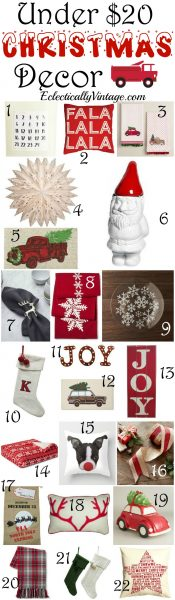 Favorite Under $20 Christmas Decor - more than 30 inexpensive items to deck your halls eclecticallyvintage.com