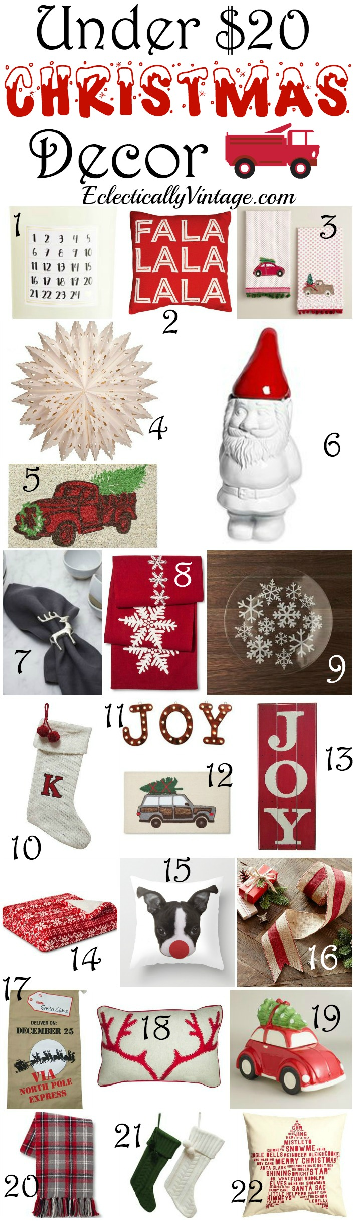 Favorite Under $20 Christmas Decor - more than 30 inexpensive items to deck your halls kellyelko.com