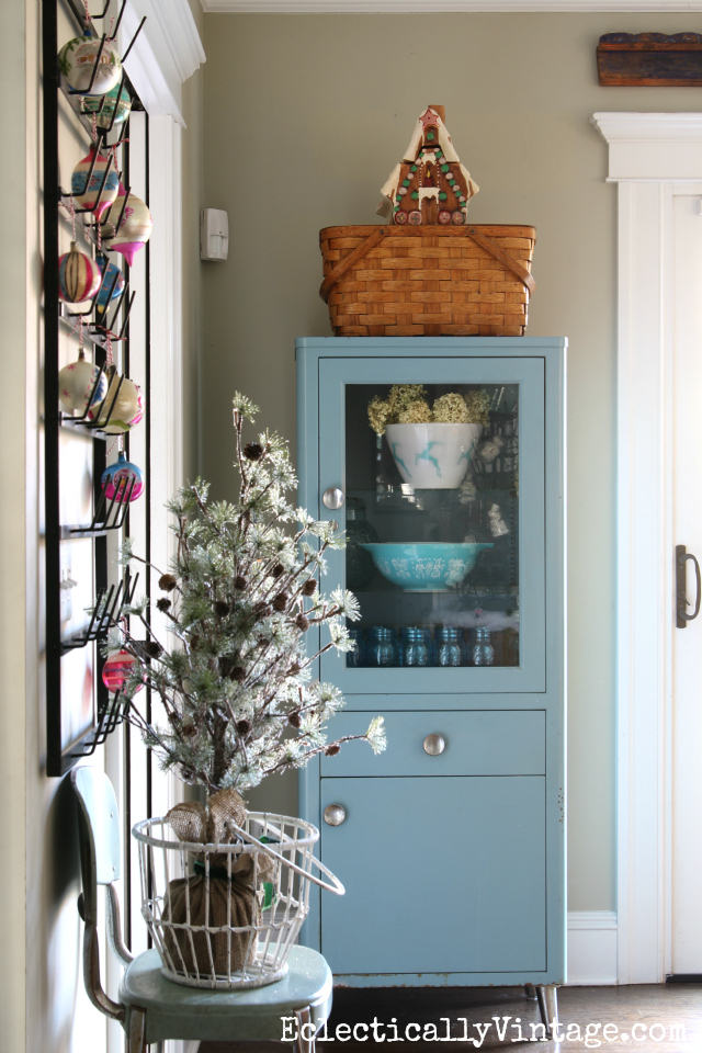 Vintage blue medical cabinet gets festive for Christmas kellyelko.com