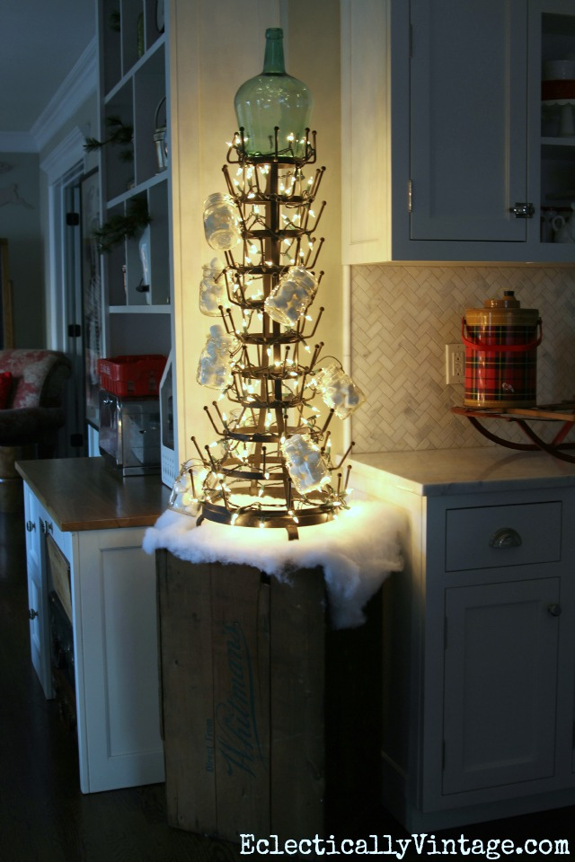 Love this bottle drying rack Christmas tree! kellyelko.com