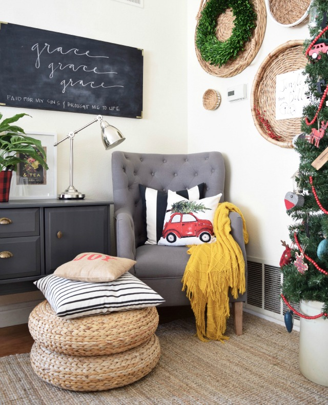 love the unexpected pop of yellow in this beautiful Christmas corner