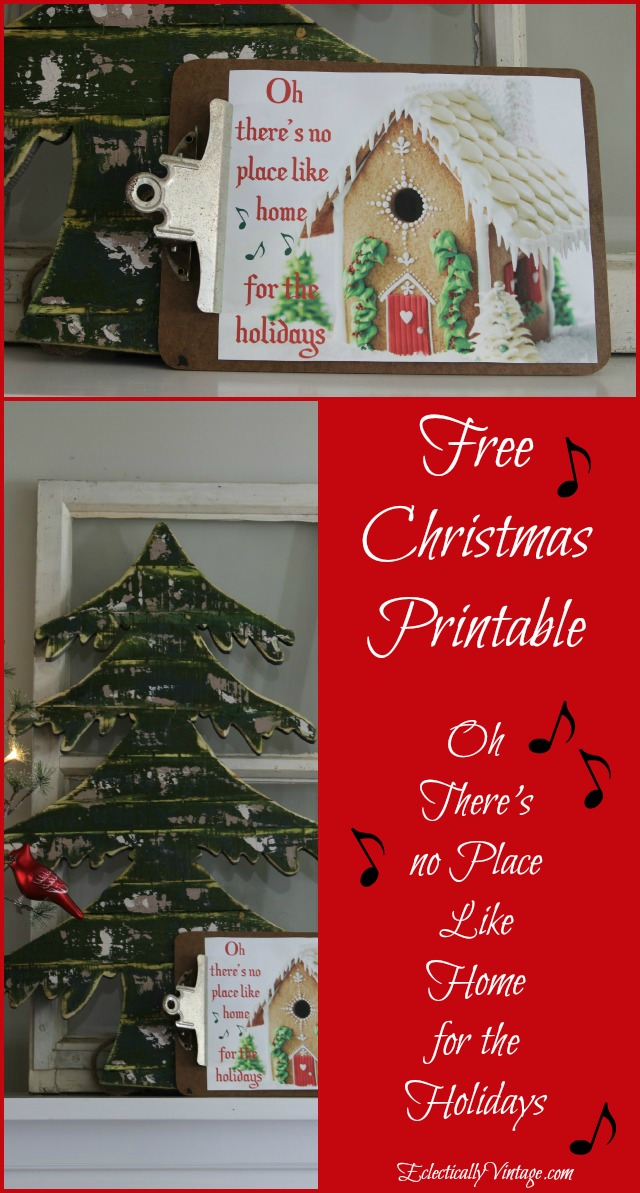 """Free Christmas Printable - """"Oh, there's no place like home for the holidays"""" eclecticallyvintage.com"""