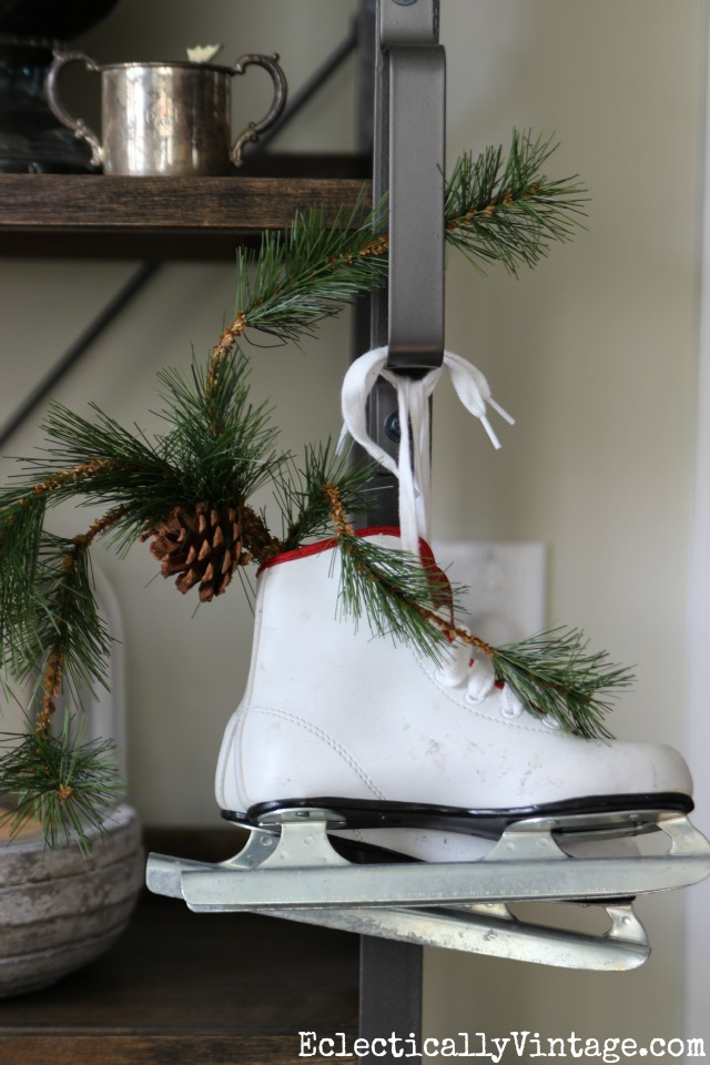 Ice skates make fun Christmas decor kellyelko.com