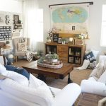 Eclectic Home Tour - love the map hiding the TV eclecticallyvintage.com