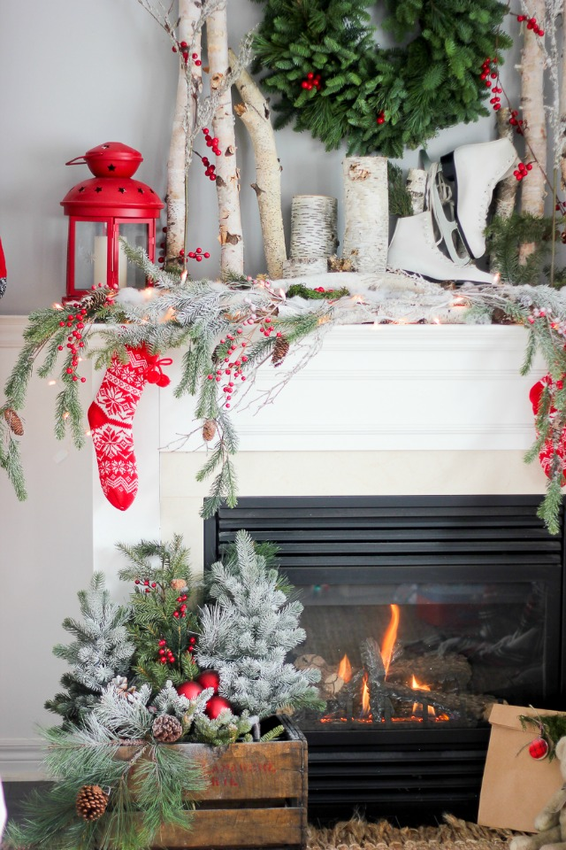 10 Creative Christmas decorating ideas - love the birch branch mantel
