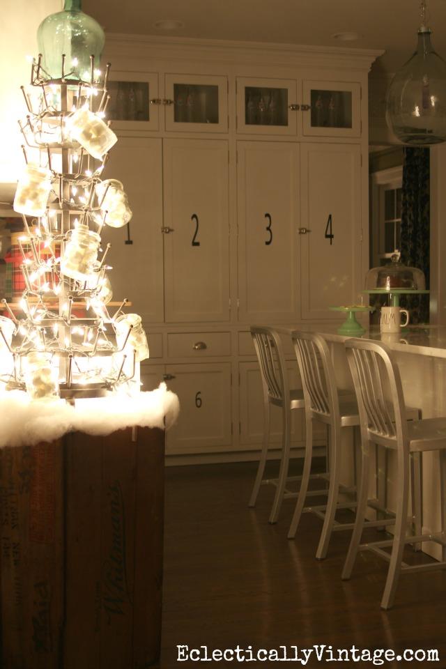 Love this huge bottle drying rack Christmas tree! kellyelko.com