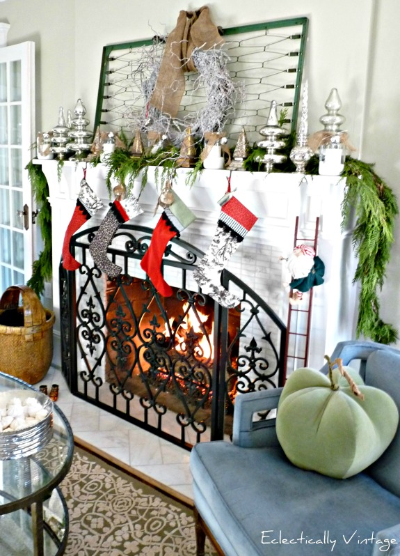 Christmas mantel with antique bedspring - one of five creative Christmas mantels kellyelko.com