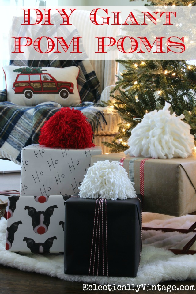 DIY Giant Pom Poms Tutorial - such a fun idea to use as gift toppers! eclecticallyvintage.com