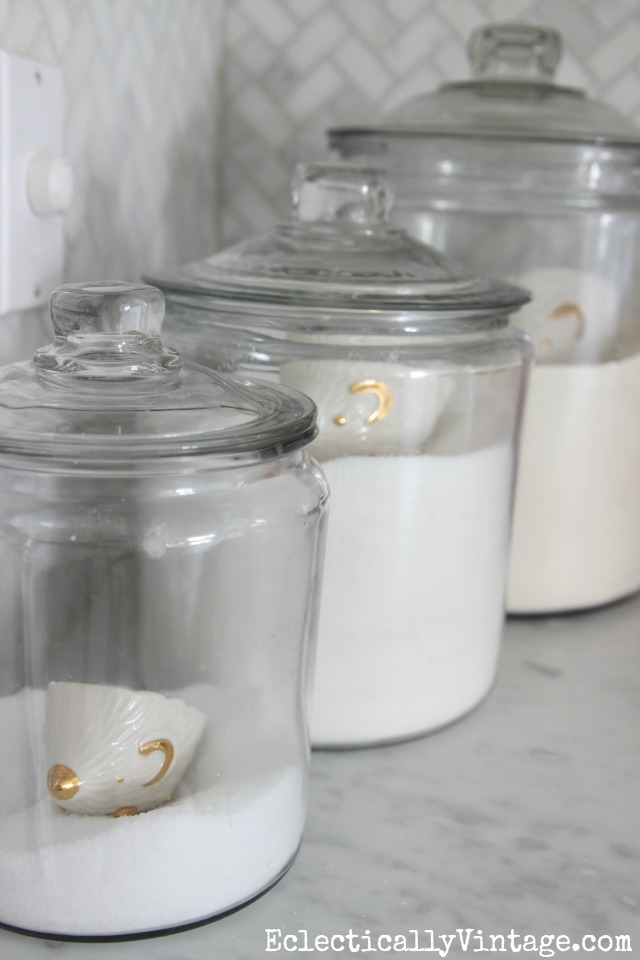 Love these glass jars for storing flour, sugar and salt on the kitchen counter and the hedgehog scoops are so cute! kellyelko.com