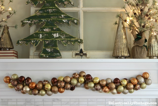 How to make ornament garland - this is the easiest way I've seen kellyelko.com