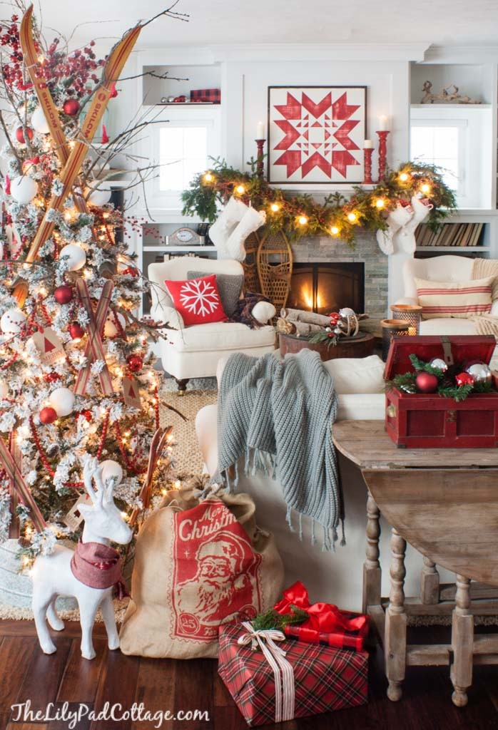 red-white-Christmas-decor-ski-lodge-698x1024