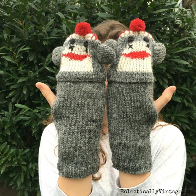 Sock Monkey Mittens kellyelko.com