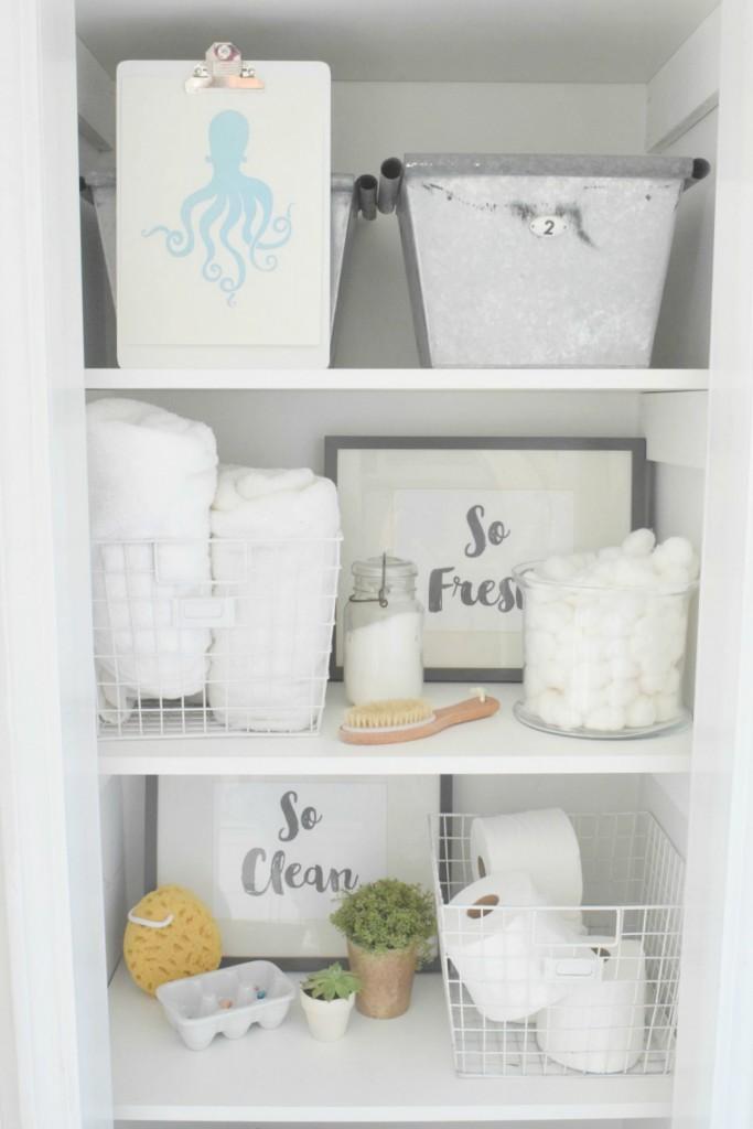 Bathroom storage shelves - love the galvanized bins kellyelko.com