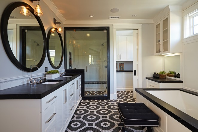 Dramatic black and white master bathroom  love the dramatic vintage style tile that Eclectic Home Tour Brooke Wagner Design