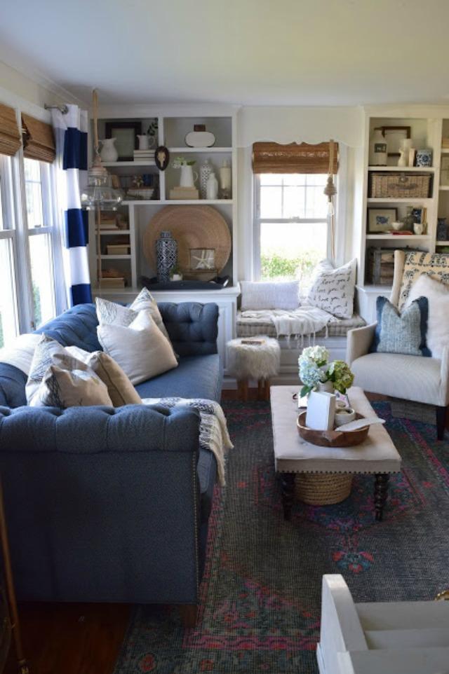 Love the cozy blue Chesterfield sofa kellyelko.com
