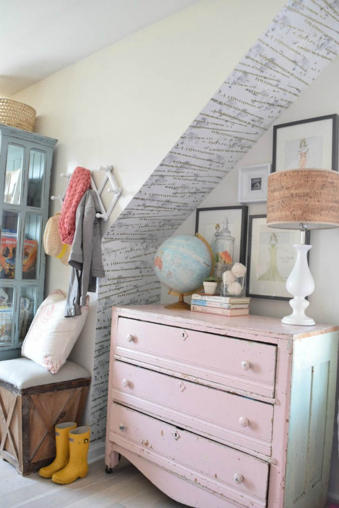 Chippy vintage dresser is perfect in this little girls room kellyelko.com