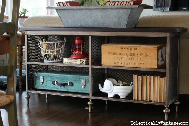Console table styling - love the mix of old and new kellyelko.com
