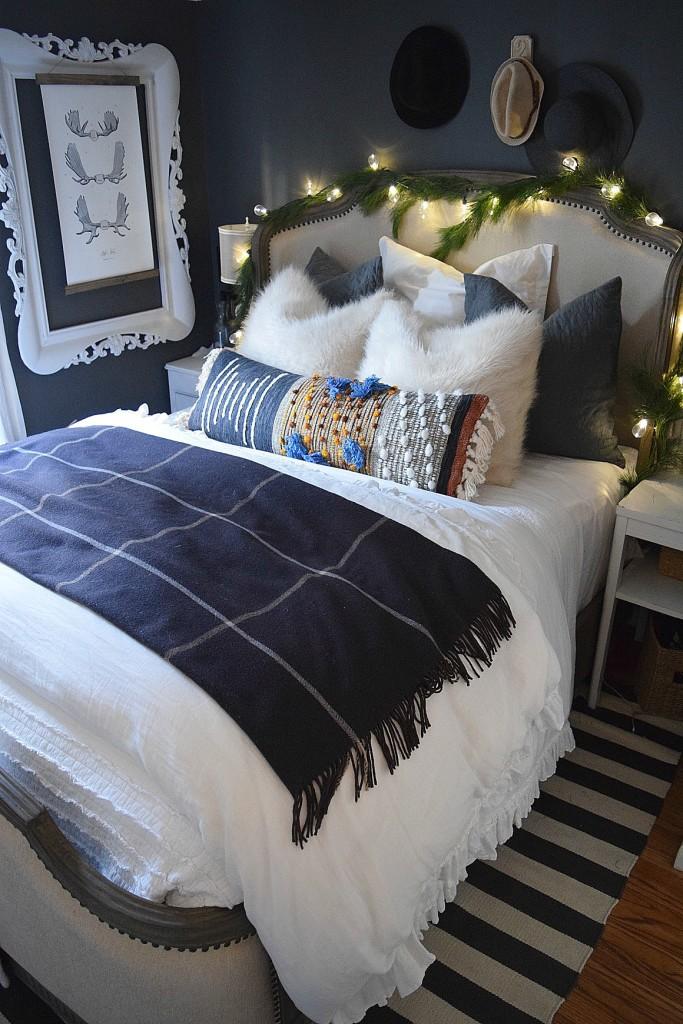 Cozy gray master bedroom - love the fabric nailhead trim bed kellyelko.com
