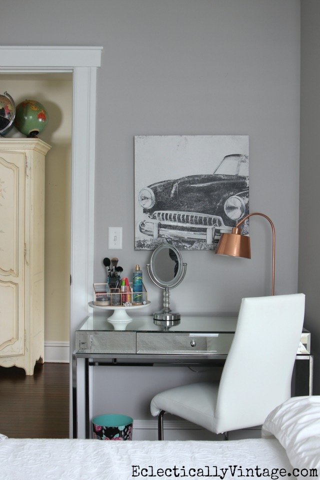 Love this gray bedroom and the mirrored vanity kellyelko.com