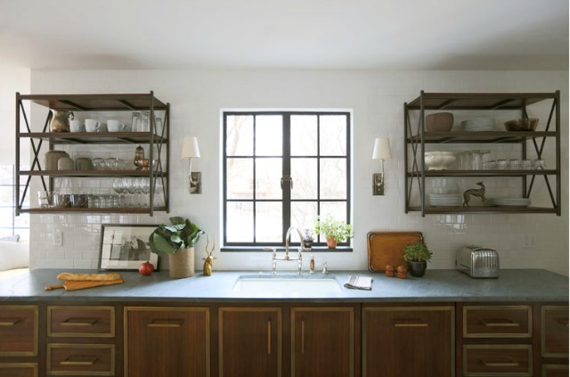 Love the pair of industrial open shelves in this industrial country kitchen kellyelko.com