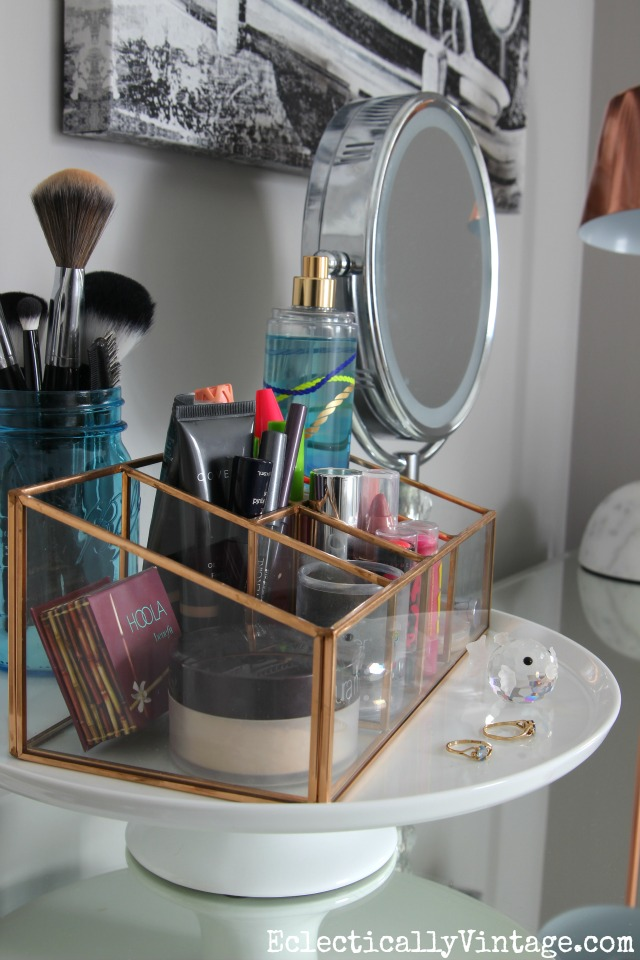 Makeup storage - corral the clutter kellyelko.com