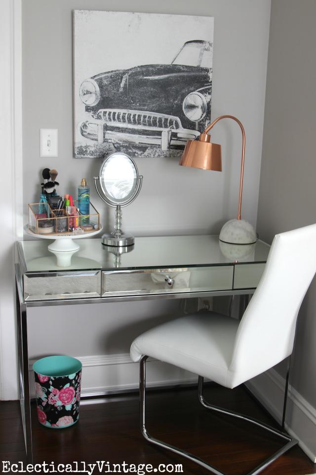 Love this mirrored desk turned vanity kellyelko.com