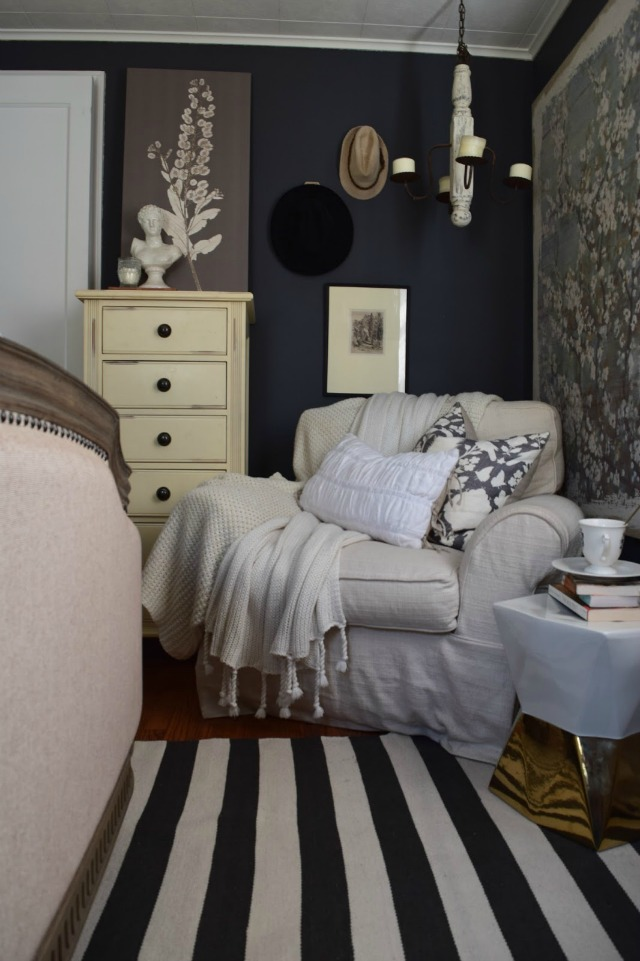 Bedroom reading nook - love the cozy oversized chair kellyelko.com