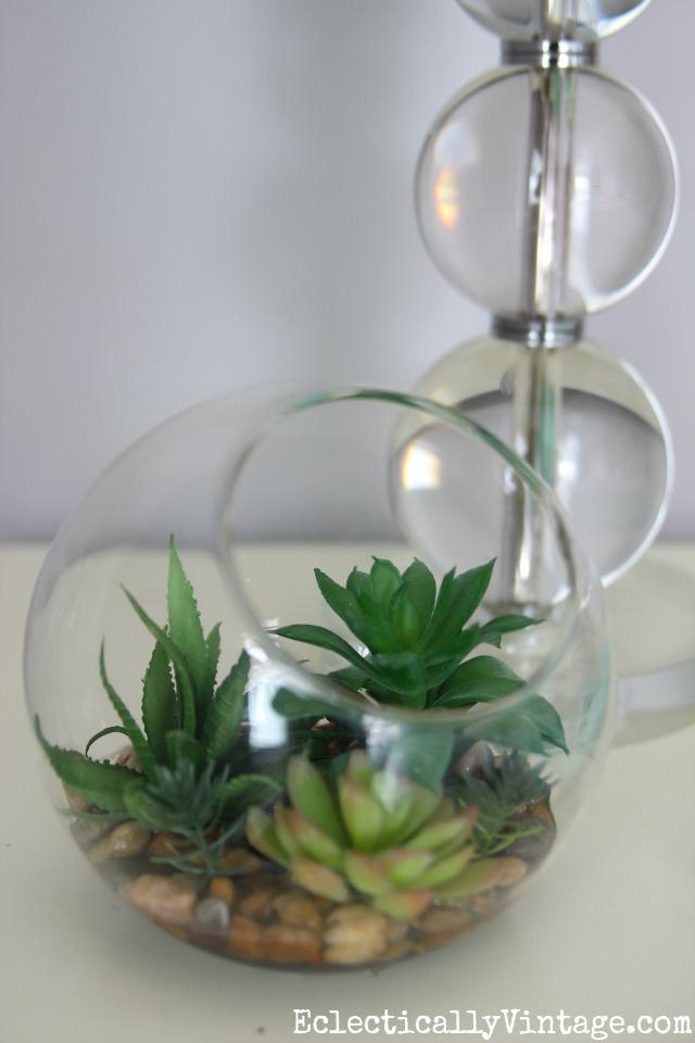 Faux succulent terrarium kellyelko.com