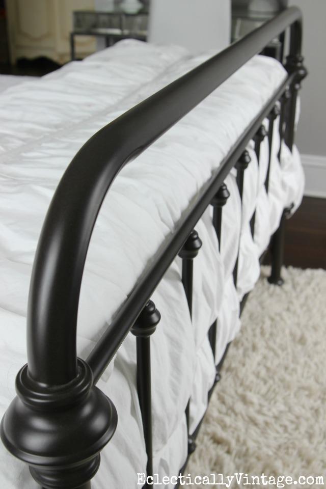 Vintage style black iron bed kellyelko.com