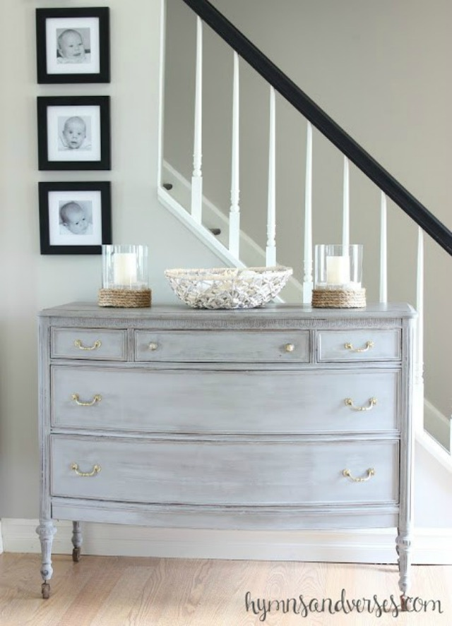 Painted antique dresser with brass hardware kellyelko.com