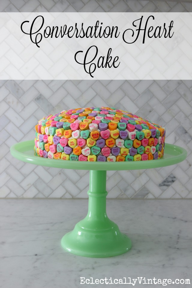 Conversation Heart Cake - such a fun idea for Valentine's Day! kellyelko.com