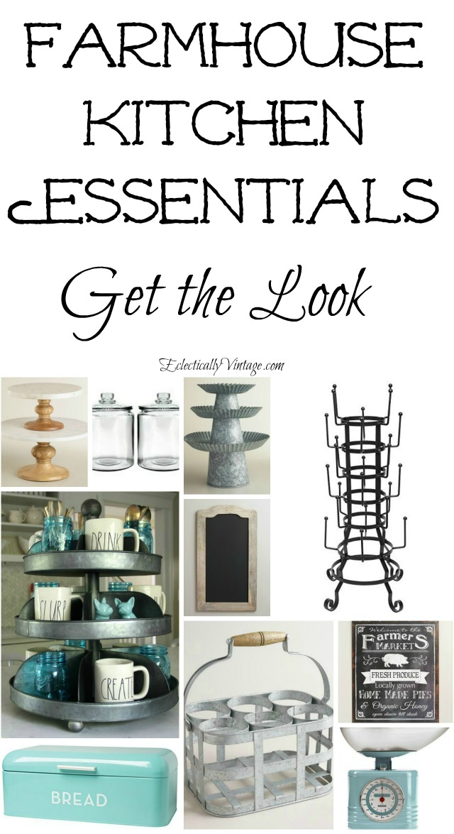 Farmhouse kitchen essentials - get the farmhouse look with these fun kitchen accessories eclecticallyvintage.com